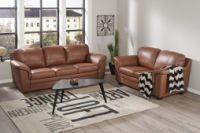 CLINTON 3-ja 2-istuttavat sohvat Soft Antique-nahka/keinonahka konjakinruskea