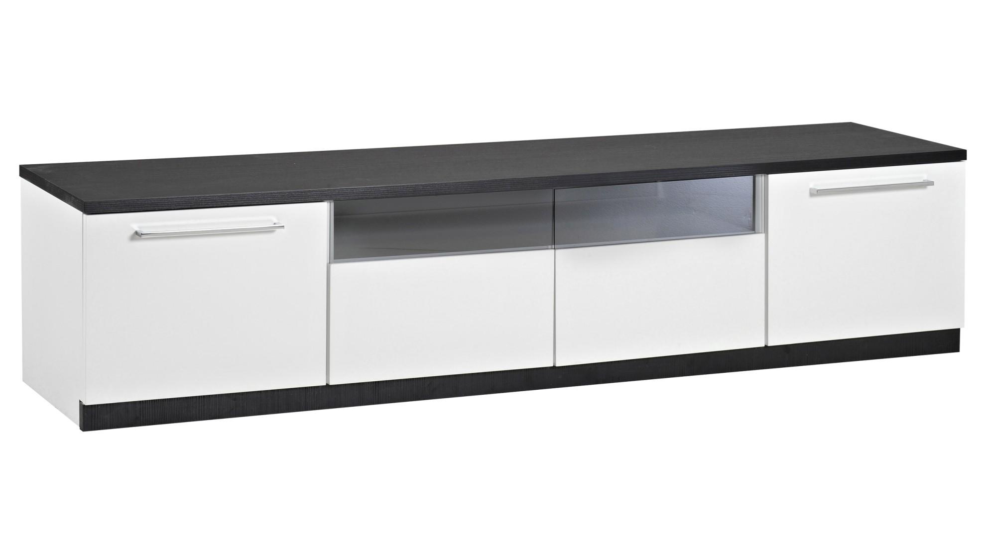 MONACO tv taso 180cm 2xovi+2xlasilaatikko (valkoinen musta