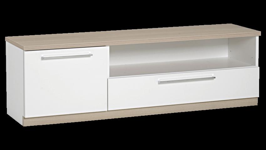 MONACO tv-taso 135cm ovi+laatikko (valkoinen/tammi) - TV-tasot   Sotka